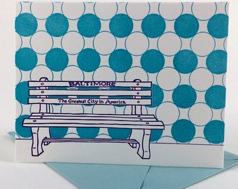 Baltimore Letterpress Card | Greatest City in America Bench | purple & blue single blank card with envelope