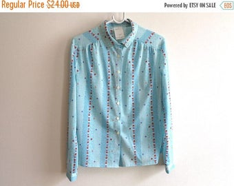 ON SALE Turquoise Blue Long Sleeve Jersey Blouse Floral Print Womens Shirt Pale Blue Top Medium / Large Size