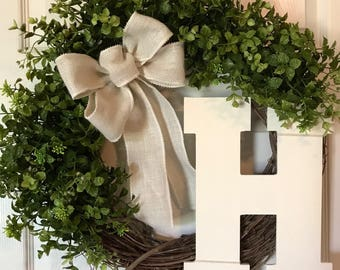 SPRING BOXWOOD WREATH,Summer Wreath,Initial Wreath,Front Door Wreath,Year Round Wreath,Burlap Wreath,Grapevine Wreath,Fall Wreath