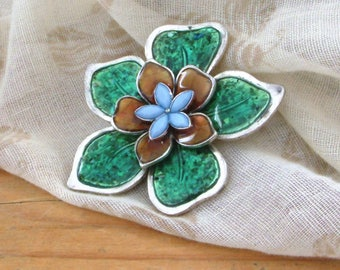 Vintage turquoise green flower brooch with pale blue rhinestones or stones and silver colour surround