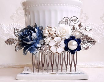 Silver bridal Navy blue flower Country garden hair accessory Blue and white wedding comb blue and white flower comb