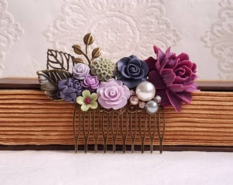 Deep purple Lilac and sage green Bridal hair comb Fall wedding Pearl and flower Rustic hair comb