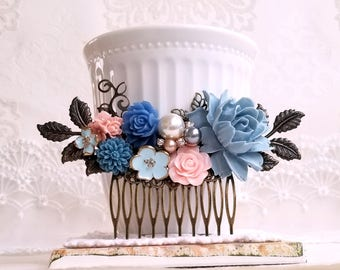 Duksy blue Rose Pink flower Pearl assemblage Rustic hair comb Something blue decorative comb