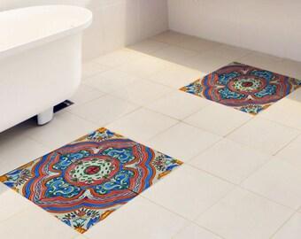 Floor tile decals SET of 15 with artistic pattern, floor decal vinyl stickers,tile stickers,bathroom tile,floor tiles,wall stickers