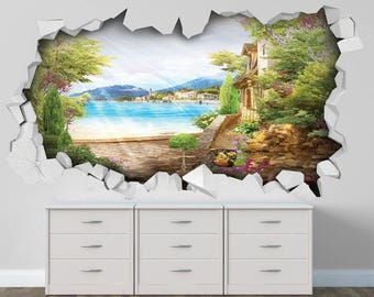 A three-dimensional hole with a beautiful view of the sea and city Bright and colorful | 3D Full Colour Wall Art Sticker