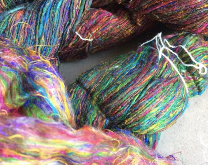 NEW***Handspun Mulberry silk and Recycled Sari Fibre Yarn