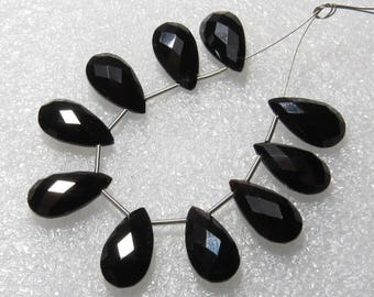 Black Onyx - 5 Matching Pairs - Faceted - Pear Shape - size 8x15 mm