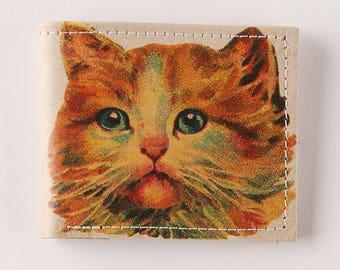 kitten wallet - mini wallet - Leather wallet - mens wallet - bifold wallet - compact wallet - front pocket wallet - womens wallet