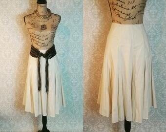 Trumpet Midi Skirt Beige with Liner Size 12 100% Cotton Summer Midi Skirt VIntage 1980s I Career Business Leisure Skirt I Midi Skirt Women