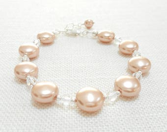 Coin Pearl Bracelet, Rose Gold Swarovski Crystal Pearl Bracelet, Sterling Silver Jewelry, Bridal Jewelry, Beaded Bracelet, Wedding Jewelry