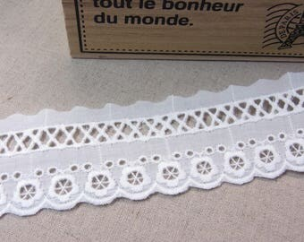 Natural Embroidery Cotton Eyelet Lace Trim White 14 yards #1044