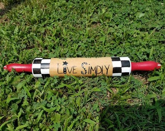 Live Simply Primitive Tree, Checkerboard Hand painted rolling pin