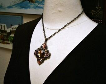 Vintage Victorian Art Nouveau Titanic Mauve Faceted Glass Pendant Necklace