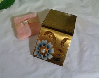 Dorset Fifth Avenue Mid Century Flower Design Pearl Gold Compact Pink Powder Puff Empty Never Used