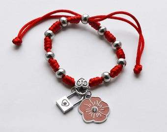 Adjustable red bracelet with charms (R2)