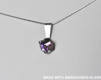 SWAROVSKI pink Crystal violet cube pendant / 925 sterling silver