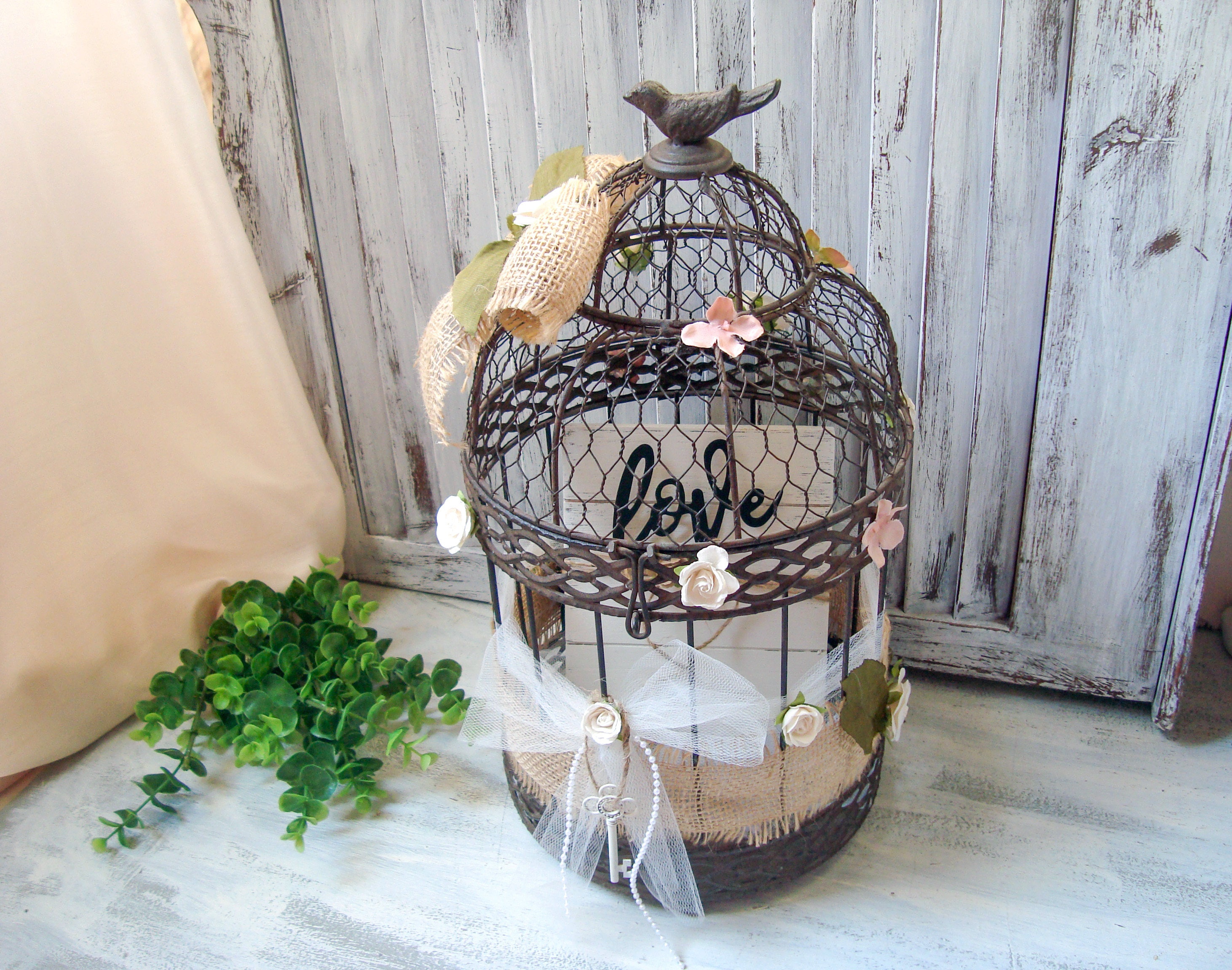 Shabby Chic Decorative Bird Cage Wedding Card Box Rustic Metal Ornate With