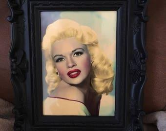 "Jayne Mansfield colour print in black vintage style frame 7x5"""