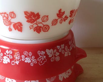 1960s-Vintage JAJ Pyrex Junior Space Saver Dishes- one original lids - Red Gooseberry- Rare- Back in Stock