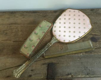 Vintage Vanity Mirror Brush and Comb Set