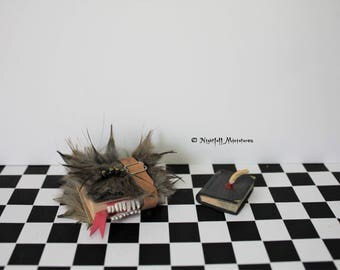 Dollhouse Miniature Magic Harry Potter Inspired Monster Book of Monsters and Tom Riddle's Diary with Basilisk Fang in 1:12 scale