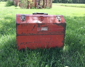 Large Rustic Red Sears Craftsman Tool Box|Vintage A Frame Carry Toolbox|Large Industrial Red Toolbox Storage