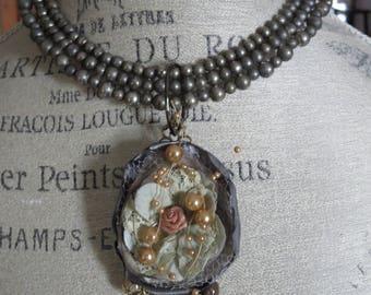 Fabric Flower Statement Necklace