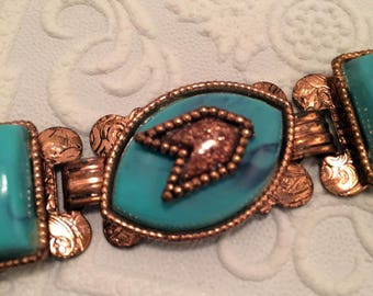 1950s Vintage Copper and Faux Turquoise Link Bracelet Southwestern Native American Style - Chunky Statement!