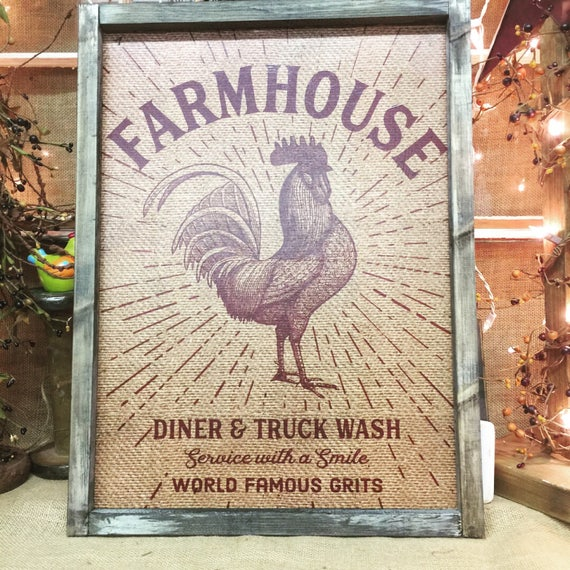 Framed rooster farmhouse sign | Wood Sign | Diner Truck Wash | feed sack style | Southern | Country