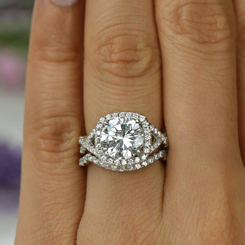 contour wedding band contoured wedding bands 3 25 ctw Twisted Halo Bridal Set Infinity Engagement Ring Contour Wedding Band Man Made Diamond Simulants Bridal Ring Sterling Silver