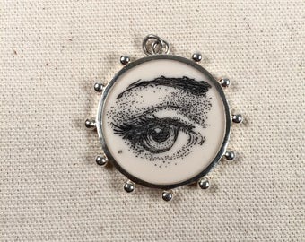 Reproduction Scrimshaw Eye Pendant in Sterling Silver Frame