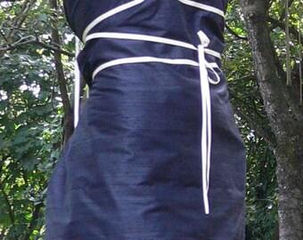 Strapless black silk