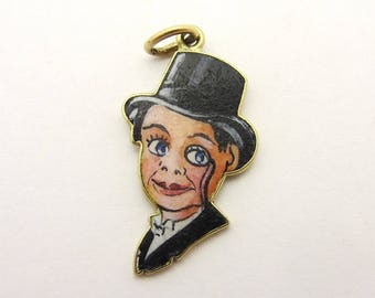 Vintage Enameled Ventriloquist Dummy Charm Charlie McCarthy 14k Yellow Gold