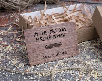 Wood Wallet Insert Card for him, Walnut Custom Engraved Insert card, Personalized Wooden man insert card, boyfriend gift, wood wedding tag