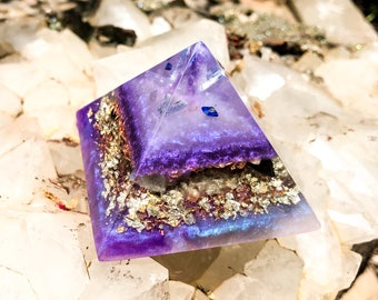 Violet Flame Orgone Pyramid ~Crown and Third Eye Chakra Crystal Pyramid ~ Meditation Altar Crystals