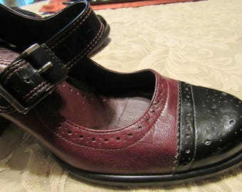 Burgundy / Red and Black Leather Mary Jane Spectator Shoe - Size 7