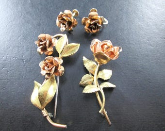 Vintage Gold & Rose Gold Tn Rose Flower Jewelry Set - Screw Back Earrings and Two Brooches / Pins Floral Jewelry