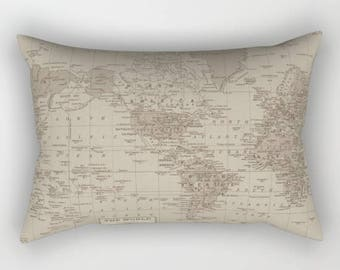 Brown World Map Pillow Case  map decor  - unique travel, wander, classic,  bedroom, bedding, design