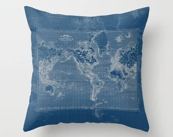 Dark Blue Map Pillow - world map, travel decor, blue and gray, mercator map,  update my decor, unique, navy blue