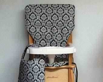 cotton high chair cushion, eddie bauer chair pad, feeding chair, seat protector, replacement cover, dark chocolate damask with matching bib
