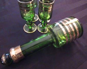 Vintage Mid Century Green Glass Wine Decanter Set of 5 Barware Retro Bar