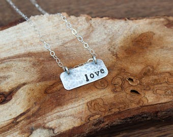 Sterling Silver Mantra Necklace - LOVE