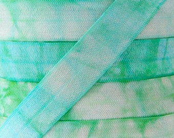Tie Dye Print Fold Over Elastic in Blue and Green - Elastic for Baby Headbands and Hair Ties - 5 Yards 5/8 inch Printed FOE