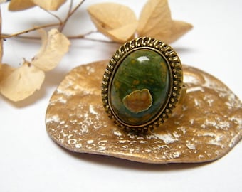 Adjustable ring bronze cabochon oval rhyolite, gift idea for woman