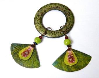 Earrings hammered antique brass, enamel on copper, glass beads - Bohemians