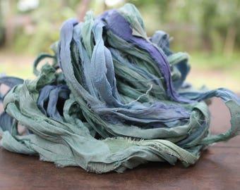 Recycled Sari silk ribbon - Pastel Hues 90