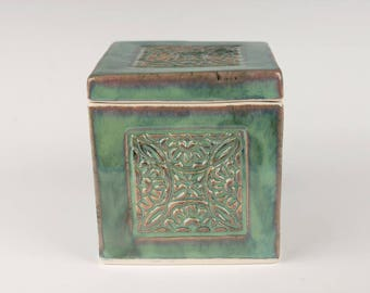 Ceramic box, seafoam green, slab built, porcelain, handmade pottery, stamped