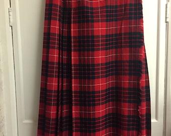 St Michael  Authentic VintageTartan Wool Mix Maxi Skirt sz 14