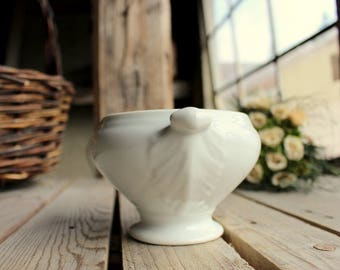 Porcelain Soup Bowl - French Vintage Bowl - Handled White Bowl - Limoges China - Made in France - Classic French Soup Bowl - White Porcelain