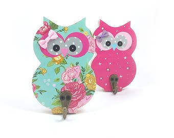 Owl hook Hanger for kids room decore , Nursery decoretion kids wall hook , Children's room